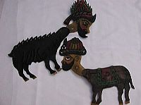 Hacivat as a goat and Karagoz as a donkey