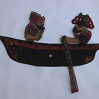 Hacivat and Karagoz in a rowing boat
