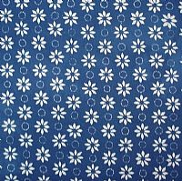 Blue and White Batik Little Daisies
