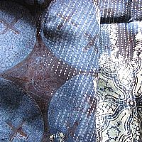 Photo 2 of our Fine batik silk scarf in shades of blue