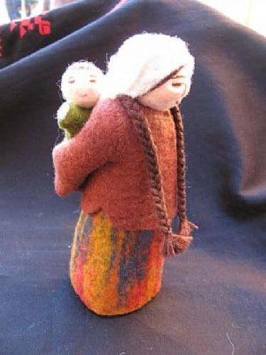 Photo of our Tatyana (felt doll with her baby on her back)