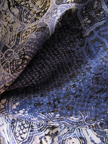 Photo of our Very fine batik silk scarf (Blues)