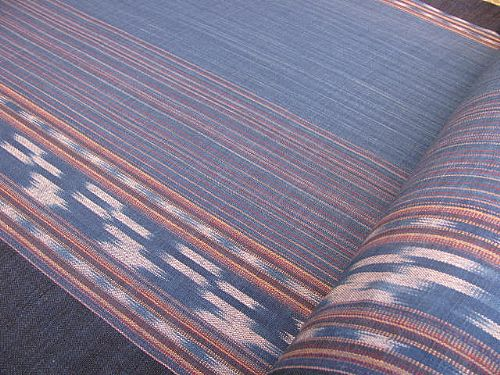Photo of our Indigo ikat by the metre