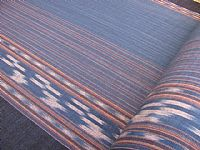 Photo of our Indigo cotton with ikat stripe