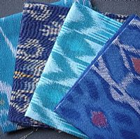 Photo 3 of our Blue and Green Ikat 4 fat quarters
