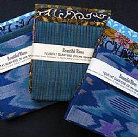 Photo 4 of our Blue and Green Ikat 4 fat quarters