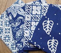 Photo 1 of our Blue and White Batik 4 fat quarters