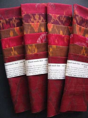 Photo of our Red and bronze ikat sample set