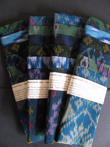 Photo of our Blue and green ikat sample set