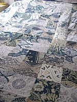 Double patchwork bedcover in vintage batik
