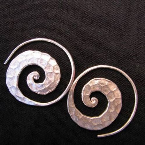 Photo of our Beaten Spiral earrings