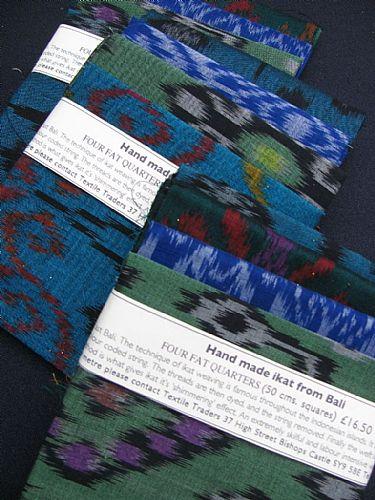 Photo of our Blue and Green Ikat 4 fat quarters