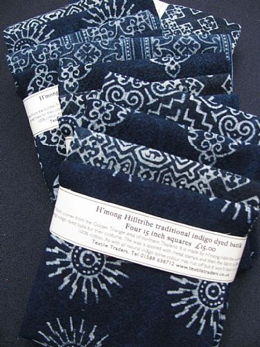 Photo of our Indigo Batik Four 15 inch squares