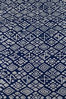 Blue and White Batik Squares and spirals