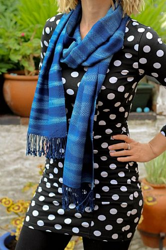 Photo of our Indigo woven scarf
