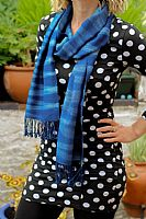 Photo 2 of our Indigo woven scarf
