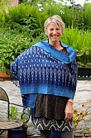 Photo of our Indigo woven shawl 1