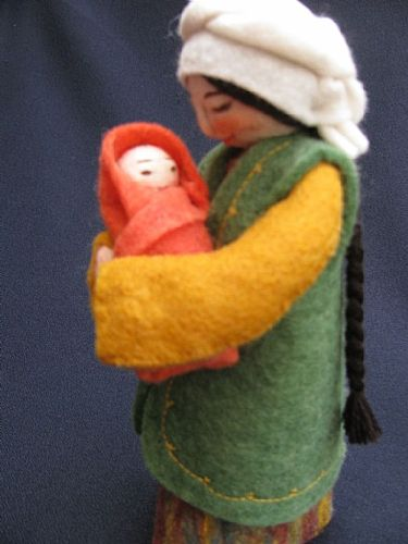 Photo of our Marva - felt doll with newborn babe