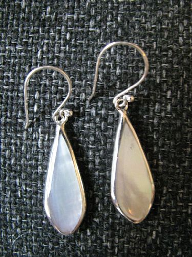 Photo of our White shell and silver teardrop earrings