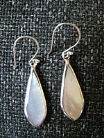 White shell and silver teardrop earrings