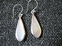 Photo 2 of our White shell and silver teardrop earrings