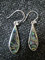 Paua shell and silver teardrop earrings