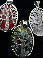 Silver Tree of Life oval pendant
