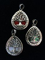 Photo of our Teardrop Tree of Life silver pendant