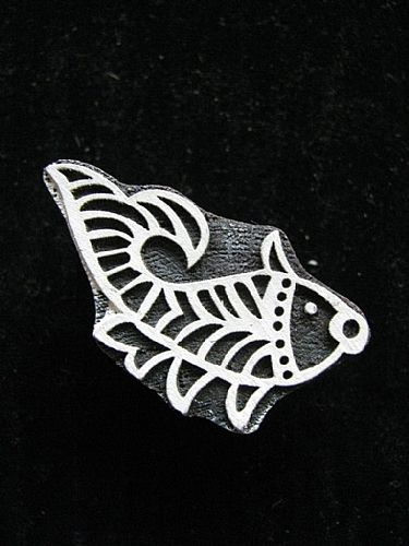 Photo of our Little leaping carp printing block