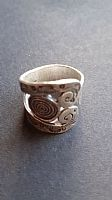 Triple spiral wide silver ring