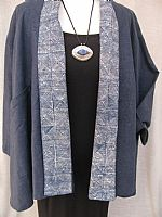Deep blue hemp jacket with Miao batik