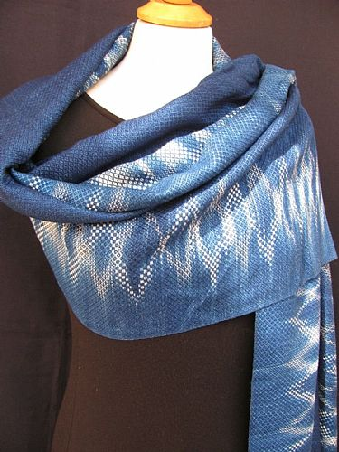 Photo of our Indigo woven shawl 3