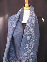 Photo 7 of our Fine batik silk scarf in shades of blue