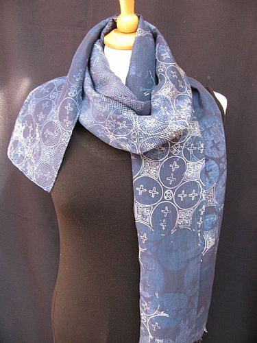 Photo of our Fine batik silk scarf in shades of blue
