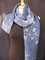 Photo 9 of our Fine batik silk scarf in shades of blue