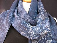 Photo 10 of our Fine batik silk scarf in shades of blue