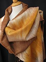 Silk ikat shawl - shades of gold and caramel
