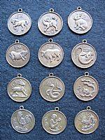 Set of 12 Chinese horoscope pendants