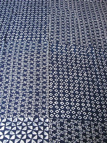 Photo of our Indigo rayon fabric (diamonds and triangles)