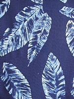 Cotton Indigo Print. Scattered leaves design