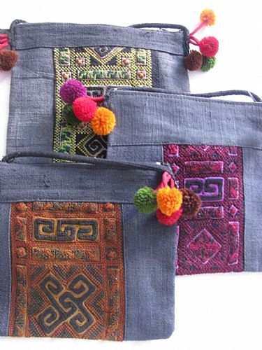 Photo of our Hemp hand embroidered shoulder bag