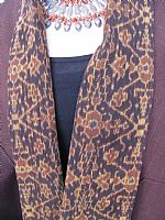 Photo 5 of our Rich brown hemp jacket with Flores ikat
