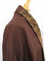 Photo 8 of our Rich brown hemp jacket with Flores ikat