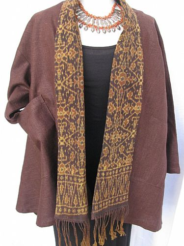 Photo of our Rich brown hemp jacket with Flores ikat