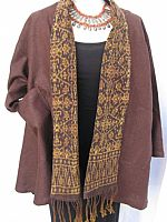 Rich brown hemp jacket with Flores ikat