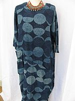 Long indigo dress - circles print