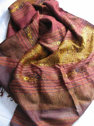 Photo of our Laos silk brocade shawl