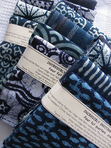 Photo of our Incredibly Inviting Indigo 4 fat quarters