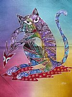 Stripey cat batik