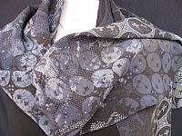 Photo 2 of our Fine batik silk crepe scarf in smokey blue shades